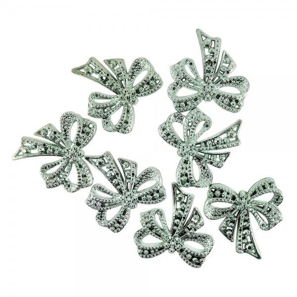 Metallic-Schmucksteine, Schleife, petrol, 4,5cm x 4,5cm, 7 Stück