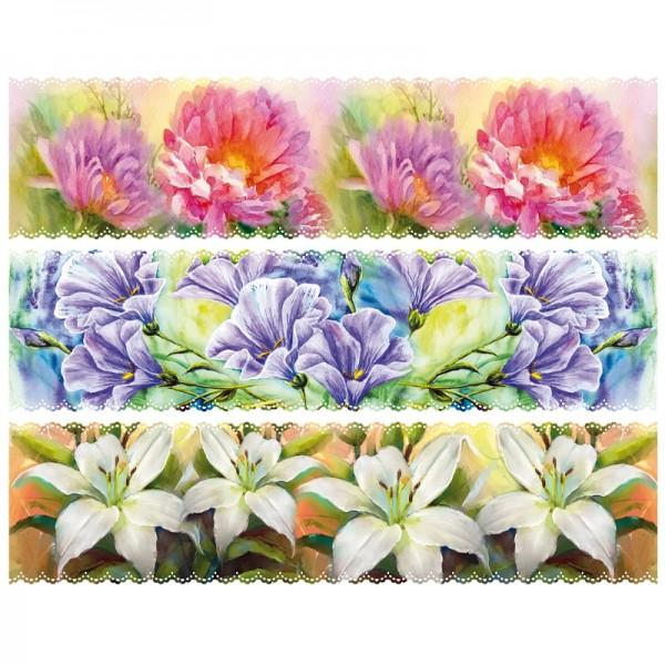 """Zauberfolien """"malerische Blumen"""", Schrumpffolien für Ø6cm, 5 cm hoch, 6 Stück"""