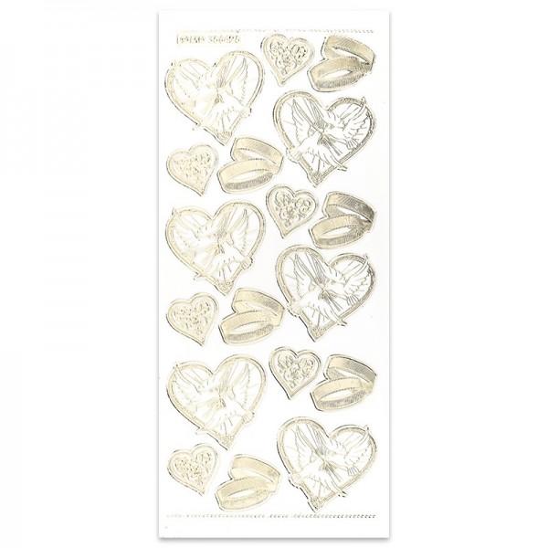 Gravur-Sticker Herzen und Trauringe, gold
