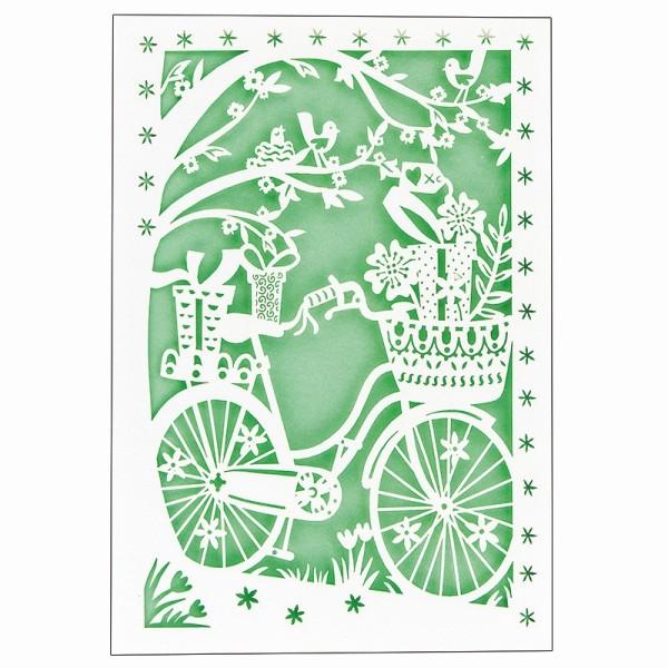 """Laser-Grußkarte """"Fahrrad"""", B6, mit Umschlag & hellgrünem Einleger"""