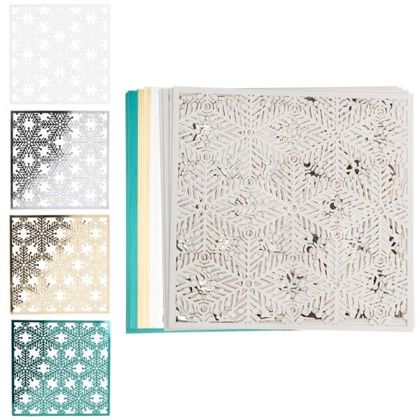 Laser-Kartenaufleger, Zierdeckchen Eiskristalle 2, 14 x 14 cm, 4 Farbtöne, 20 Stück