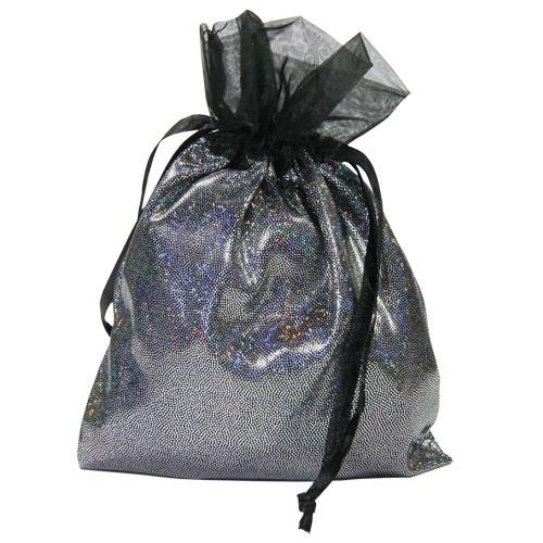 Schmuckbeutel mit Glitzer-Effekt, Satin, 13 x 18 cm, silber