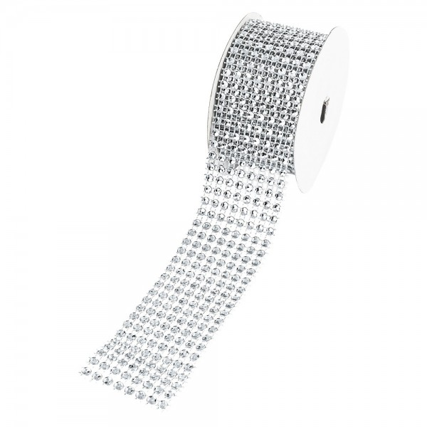 Schmucknetz-Band, 4cm breit, 1,5m lang, silber