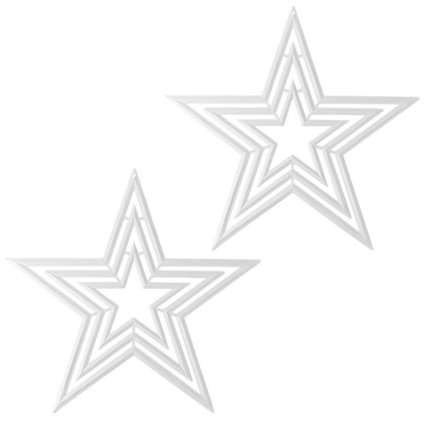 Winter-Deko, Rohling, Stern 3, Ø 29cm, weiß, 2 Stück
