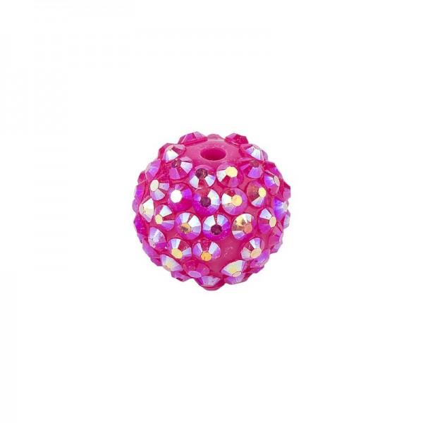 Kristall-Perlen, Ø18 mm, 10 Stück, fuchsia-irisierend