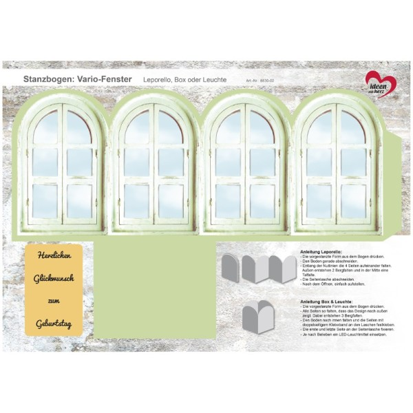 Stanzbogen, Vario-Fenster, DIN A4, Design 2