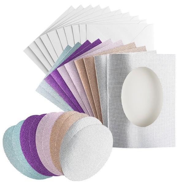 Grußkarten, Glitzer-Leinen, Passepartout oval, B6, 5 Farben, Ovale, inkl. Umschläge, 10 Stück