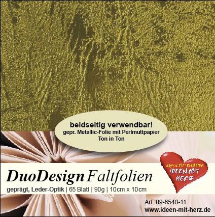 DuoDesign Faltfolien, Leder-Optik, 10cm x 10cm, 65 Blatt, oliv