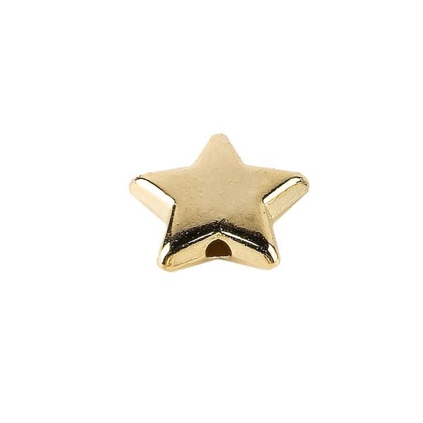 Perlen, Stern 1, flach, 1cm x 0,4cm, hellgold, 250 Stück