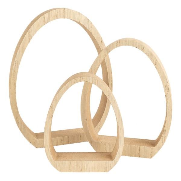 Ei-Podeste, Rohlinge zum Weiterverzieren, Rahmen in Eiform zum Aufstellen, versch. Größen, 3 Stück