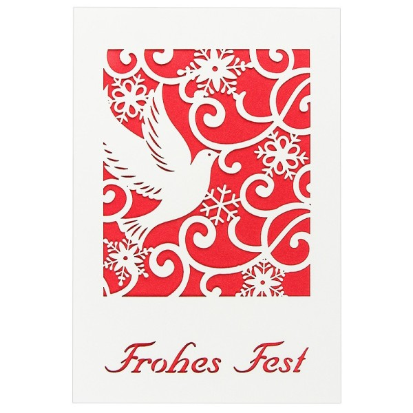 """Laser-Grußkarte """"Frohes Fest 1"""", 12x18cm, mit Einleger & Umschlag"""