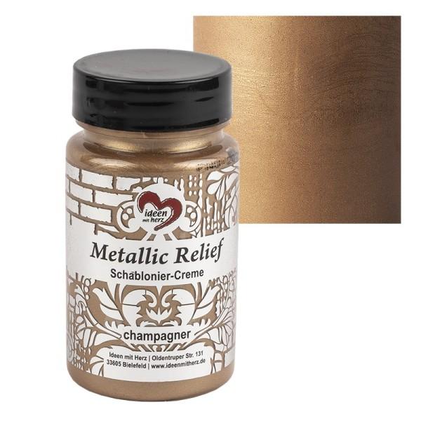 Metallic Relief, Schablonier-Creme, champagner, 90ml