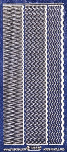 Microglitter-Sticker, Wellen-Linien, 3 Breiten, blau