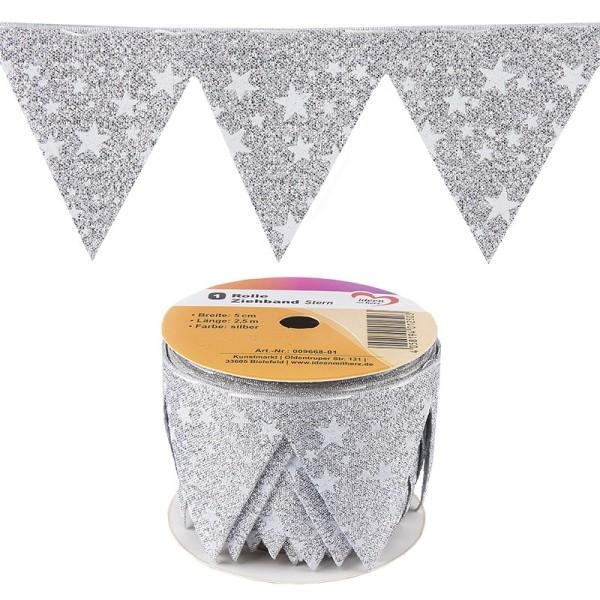 """Ziehband """"Stern"""", 5cm breit, 2,5m lang, silber"""