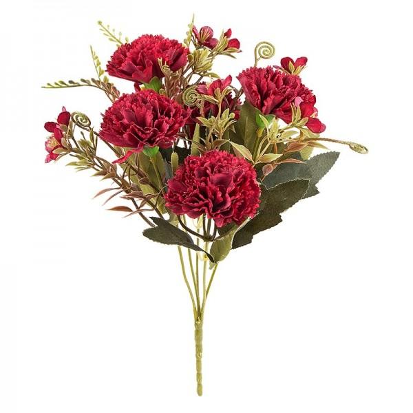 Blütenbusch, Nelken 2, 28cm hoch, 5 große Blüten Ø 4,5cm, Rottöne