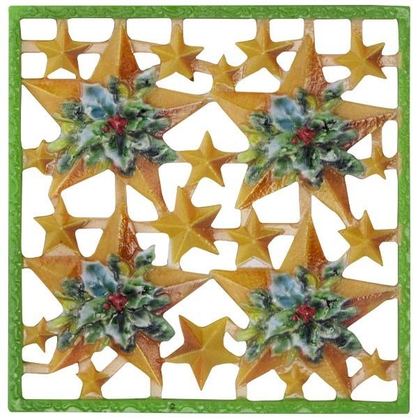 Wachsornament-Platte Sterne mit Ilex, farbig, geprägt, 10x10cm