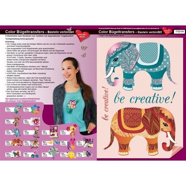 Color Bügeltransfers, DIN A4, Bastelspruch, Kreativer Elefant
