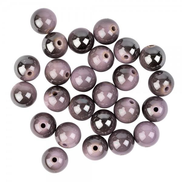 Perlen, rund, glänzend, Ø 1,4cm, Hämatit-Optik, silber, grau, flieder, 25 Stück