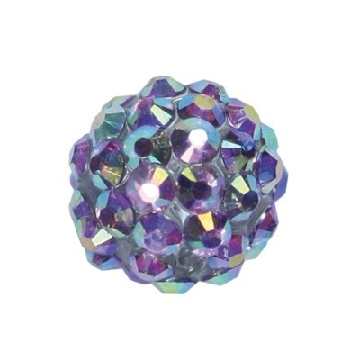 Kristall-Perlen, Ø14 mm, 10 Stück, grau-irisierend