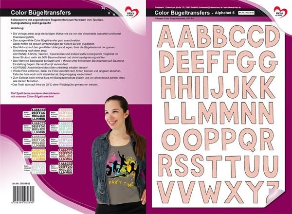 Color Bügeltransfers, DIN A4, Alphabet 6, lachs