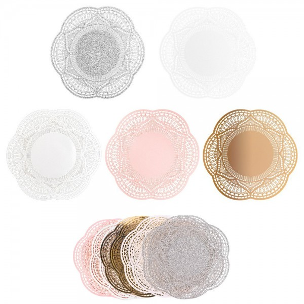 XL-Laser-Ornamente, Zierdeckchen 10, verschiedene Farben, Ø 20cm, 10 Stück