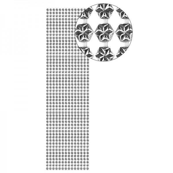 Schmuckstein-Bordüren, Hexagon, selbstklebend, facettiert, metallic, Ø4mm, 29cm, 14 Stück, silber