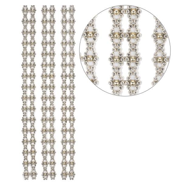 Premium-Schmuck-Bordüren, Bracelet 13, selbstklebend, 29cm, mit Glaskristalle, hellgold