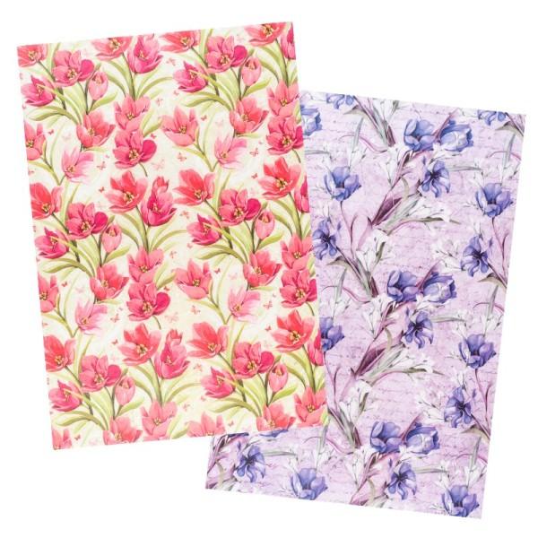 Reispapiere, Blüten 12, DIN A4, 30g/m², 2 verschiedene Designs