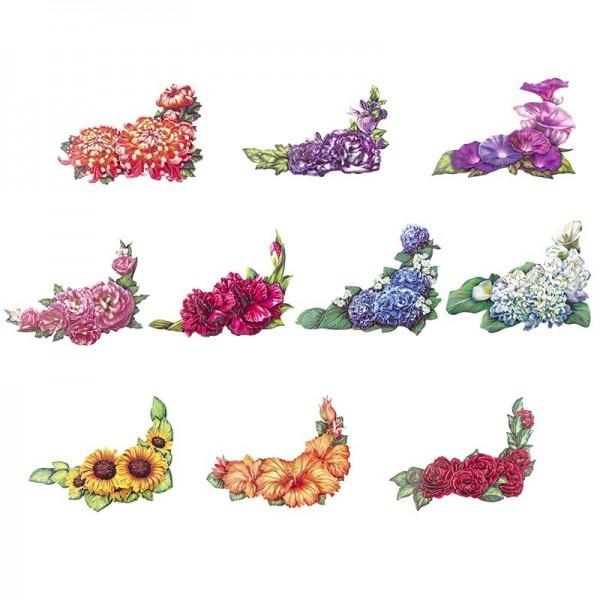 3-D Motive, Blüten-Ecken, Gold-Gravur, 7,5-13cm, 10 Motive
