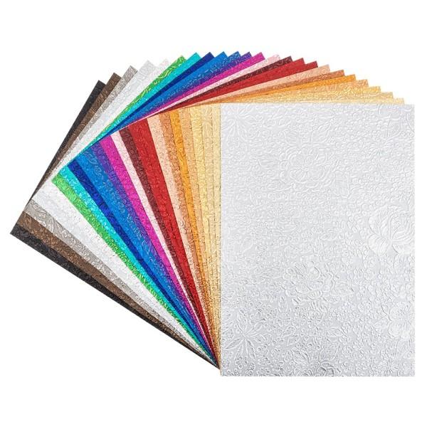 Naturpapiere, Desgin 3, DIN A4, 150 g/m², versch. Farben, handgemacht, veredelt, geprägt, 24 Bogen