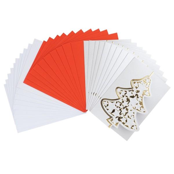 """Deluxe-Grußkarten """"Weihnachtsbaum 1"""", B6, 10 Stück, inkl. Einleger & Umschläge"""