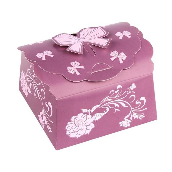 Zier-Faltboxen, Design 3, 10cm x 10cm x 5cm, aubergine mit rosafarbener Perlmuttveredelung, 10 Stück