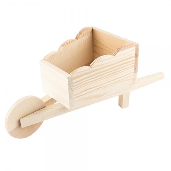 Schubkarre, Holz, 27cm x 10,3cm x 11,9cm