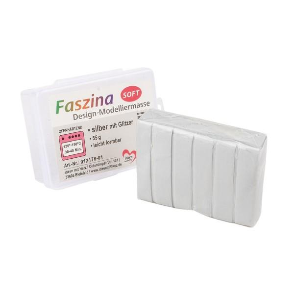 Faszina Soft, Design-Modelliermasse, silber mit Glitzer, 55g, leicht formbar, ofenhärtend