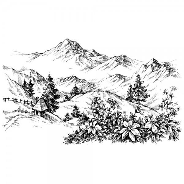 Feinkontur-Stempel, 10 x 15cm, Berg-Idylle