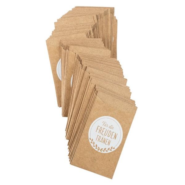 Kraftpapier-Tüten, Freudentränen, 10,6cm x 6,3cm, 200 g/m², weiß bedruckt, 100 Stück