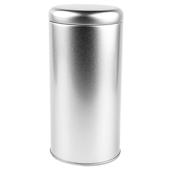 Dose aus Metall mit Deckel, rund, Ø 8,5cm, 17,5cm hoch, 990ml, silber-matt