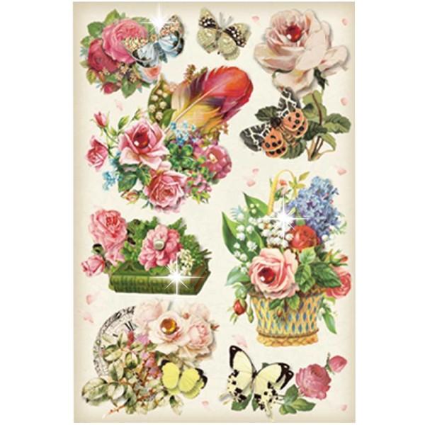 3-D Stickerbogen, Vintage-Blumen 8, 12,7 x 18,8 cm