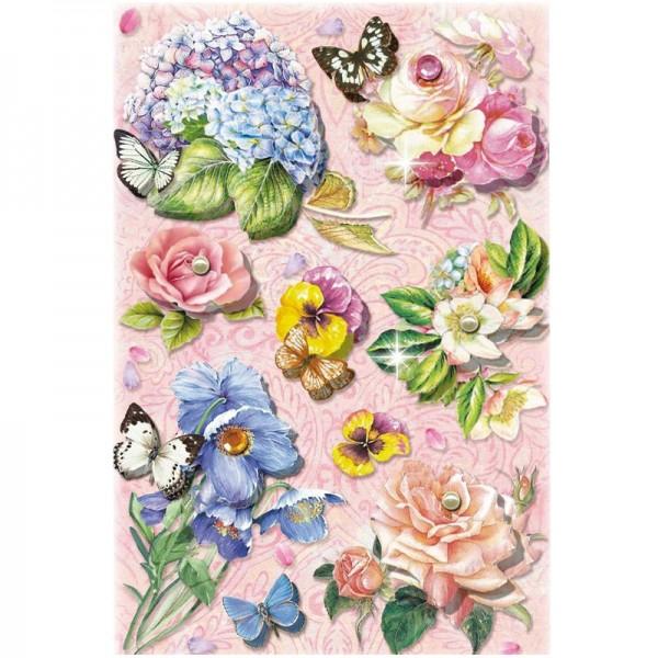 3-D Stickerbogen, Blumen auf Rosa 3, 12,7 x 18,8 cm