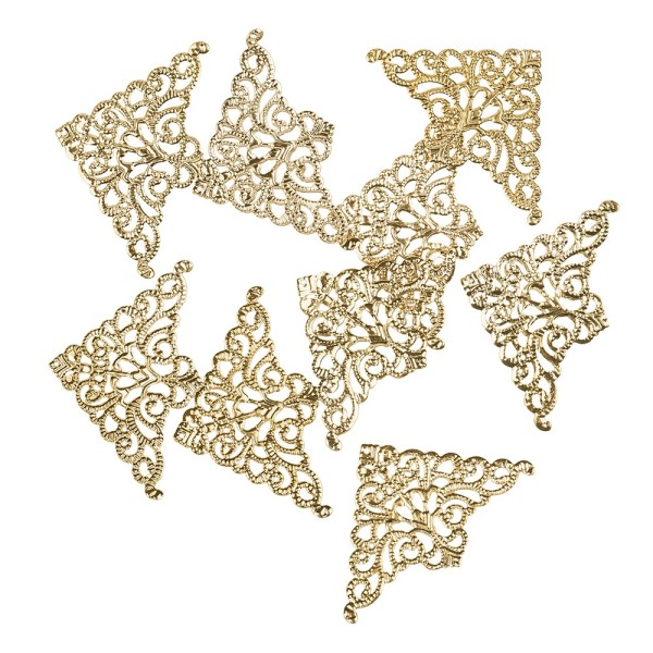 Metall-Ornamente, Design 21, 7,6cm x 5cm, hellgold, 9 Stück