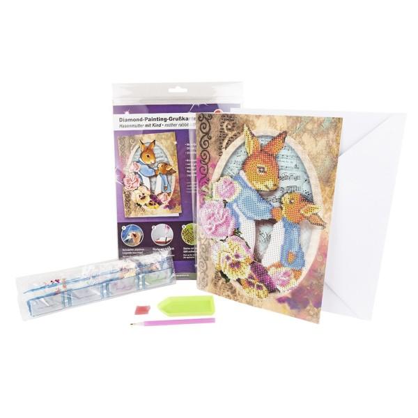 Diamond-Painting-Grußkarte, Hasenmutter mit Kind, DIN A4, 370g/m², inkl. Umschlag & Werkzeug