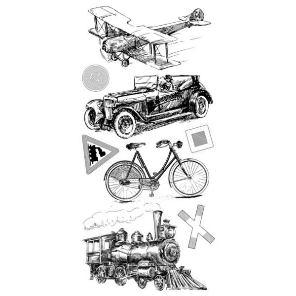 Feinkontur-Stempel, Motive auf Trägerfolie, Gute Reise