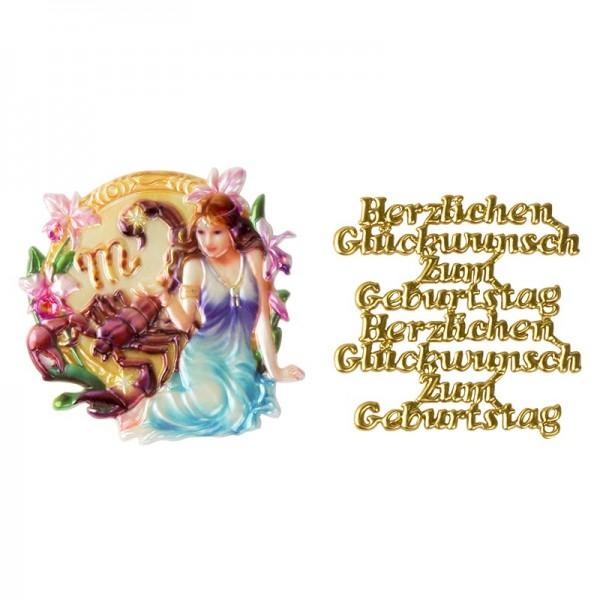 Wachsornamente, Sternzeichen Skorpion & Herzlichen Glückwunsch, 2 Stück