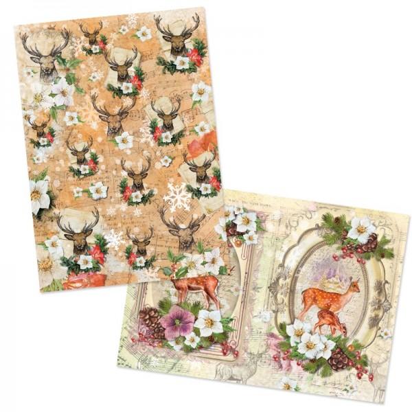 """Reispapiere, Weihnachten """"Hirsche"""", DIN A4, 2 Designs"""
