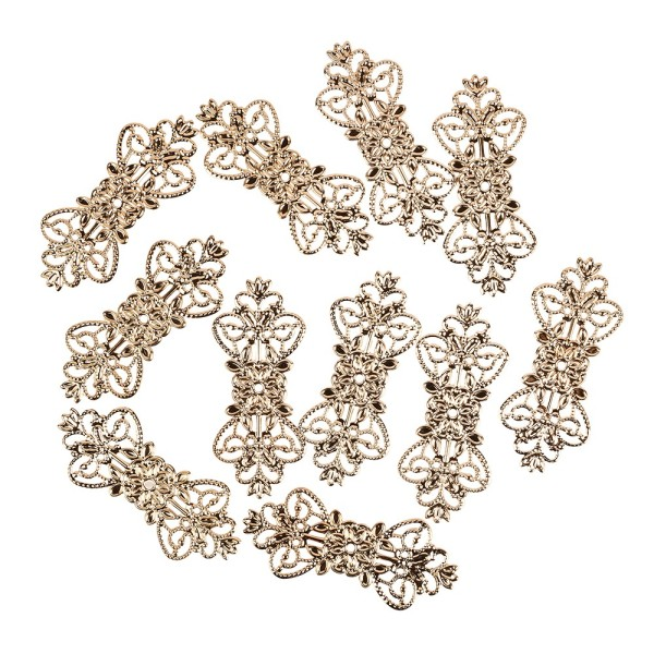 Metall-Ornamente, Design 1, 7,4cm x 3,1cm, roségold, 11 Stück