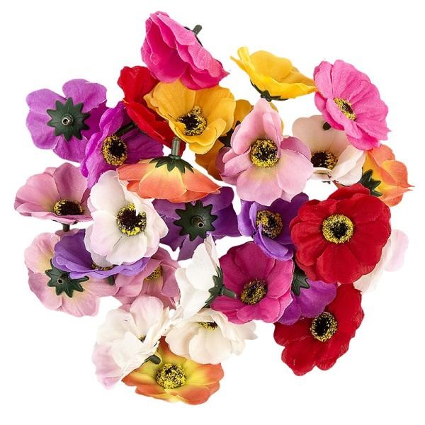 """Deko-Blüten """"Anemone 2"""", Ø 4,5cm, verschiedene Farben, 27 Stück"""