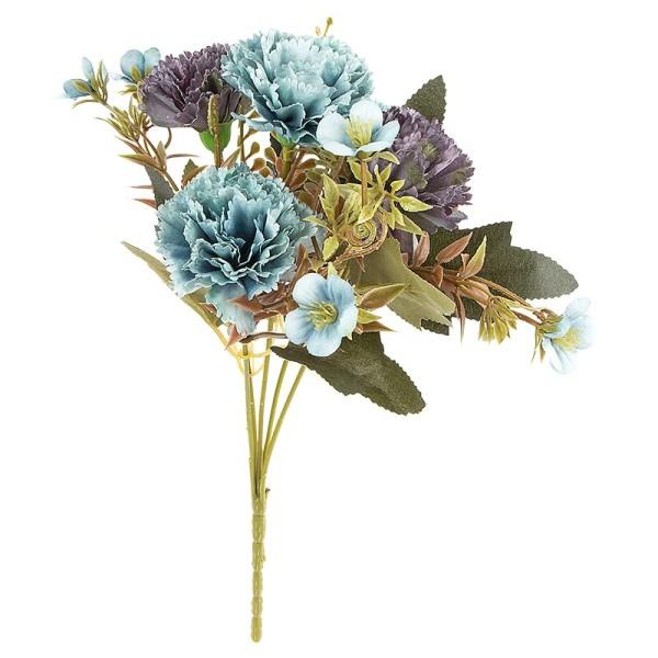 Blütenbusch, Nelken 2, 28cm hoch, 5 große Blüten Ø 4,5cm, Blautöne