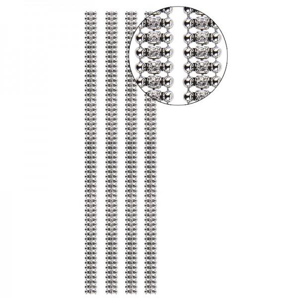 Premium-Schmuck-Bordüren Charme, 28cm, mit Glas-Kristallen, silber