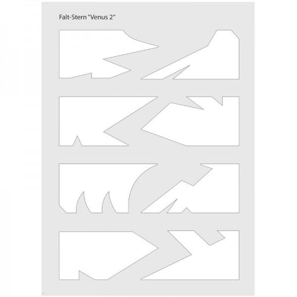 """Schablone Falt-Stern """"Venus 2"""", 8 verschiedene Sternspitzen, inkl. Anleitung"""