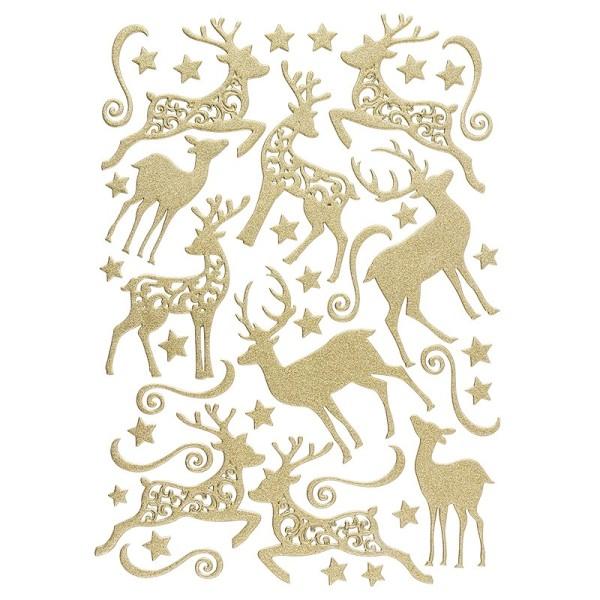 3-D Sticker, Deluxe Hirsche, verschiedene Größen, selbstklebend, gold